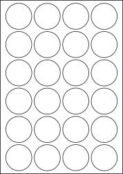 Round Yellow Labels, 24 Per Sheet, 45mm Diameter