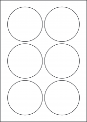 Round Yellow Labels, 6 Per Sheet, 85mm Diameter