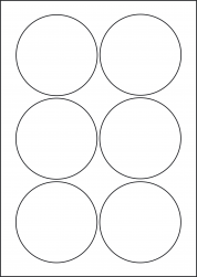 Round Yellow Labels, 6 Per Sheet, 88mm Diameter