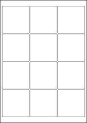 Square Blue Labels, 12 Per Sheet, 65 x 65mm
