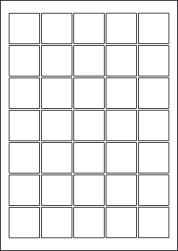 Square Coloured Labels, 35 Per Sheet, 37 x 37mm, LP35/37SQ C