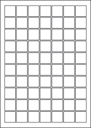 Square Gloss Waterproof Labels, 70 Per Sheet, 25mm, LP70/25SQ GWP