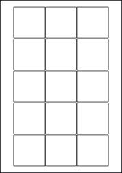Square High Tack Paper Labels, 15 Per Sheet, 51mm, LP15/51SQ HT