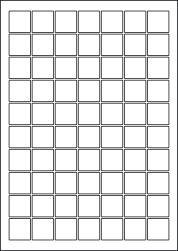Square Laser Gloss Labels, 70 Per Sheet, 25 x 25mm, LP70/25SQ GW
