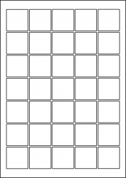 Square Red Labels, 35 Per Sheet, 37 x 37mm