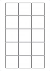 Square Yellow Labels, 15 Per Sheet, 51 x 51mm