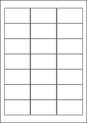Water Wash Off Labels, 21 Per Sheet, 63.5 x 38.1mm, LP21/63 WW