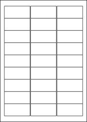 Water Wash Off Labels, 27 Per Sheet, 63.5 x 29.6mm, LP27/63 WW